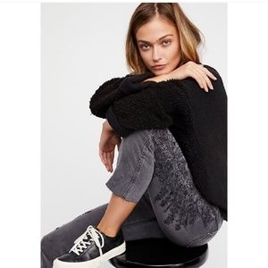 Free People cut off embroidered gray jeans